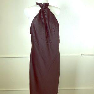 TopShop Black Satin Knot Halter Neck Mini Dress